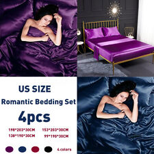 4pcs Fashion Bedroom Decor Cover Romantic Soft Luxury Bedding Set Purple Satin