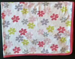 Carters OS Baby Blanket White Pink Coral Lime Green Gray Flowers Stripes Cotton