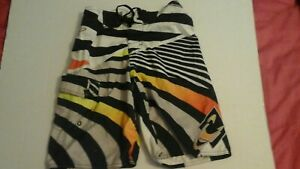 oneill mens boardshorts size 24 grey,black,orange and yellow