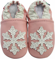 carozoo snowflake pink 2-3y soft soled leather baby shoes
