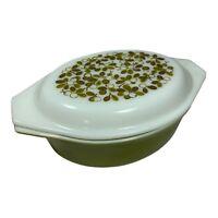 Vintage Pyrex Oval Casserole Dish Verde Green Olive Lid 1.5 qt Ovenware