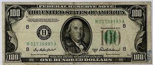 $100 Dollar Bill Series 1950 B St. Louis Federal Reserve H8 Fine