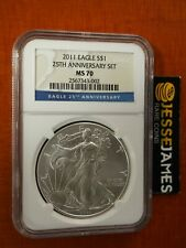 2011 SILVER EAGLE NGC MS70 FROM 25TH ANNIVERSARY SET