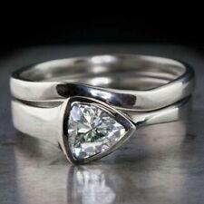 Modern classy, Elegant .925 Silver Wedding Set Ring White Sapphire, Sz 8