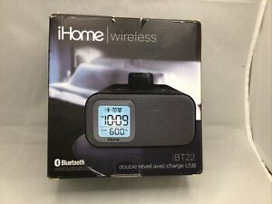 iHome Wireless Bluetooth Bedside Dual Alarm Clock with USB Charging and Line-In