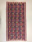 Vintage Turkish Kilim 205x104 cm, Wool Kelim Rug Red Black Blue Beige Medium