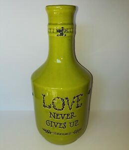 Chartreuse Green Country Style distressed Bottle Love Never Gives Up 1 Cor 13