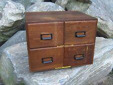 Antique 4 Drawer Oak File Box / Cabinet Postcard w/ Metal Tag WWII United States