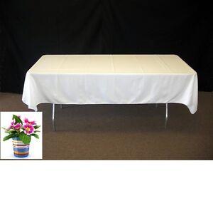 "10 pc 60""x102"" Rectangular Cloth Fabric Linen Polyester Tablecloth White Wedding"