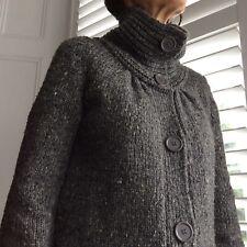 STUDIO M Long Cardigan Coat Collar + Pockets Grey Wool Big Buttons UK8-10 BNWOT