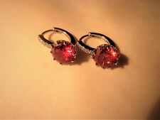 PLATINUM PLATED EARRINGS, 3.25ctw RED CUBIT ZIRCONIA WITH 5 SMALLER WHITE CZ'S.