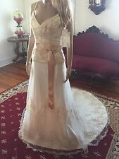 NWT  MAGGIE SOTTERO Couture Light Gold Kiri Wedding Gown Dress size 8   NEW