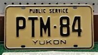 YUKON TERRITORY - 1985 Public Service license plate, black on gold full legend