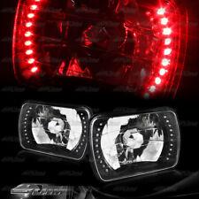 "7""x6"" H6054 Rectangle Red LED Diamond Black Housing Headlights Lamp Universal 6"