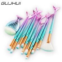 11PCS Mermaid Makeup Brushes Set Fish Tail Foundation Eyeshadow Powder Brush Kit