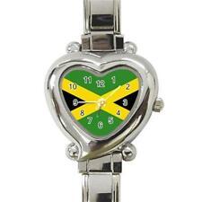 Jamaica Jamaican Flag Heart Italian Charm Watch