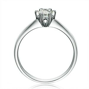 Hot!!! Solid 925 Sterling Silver Round Cut 1 Ct Simulated Diamond Solitaire Ring