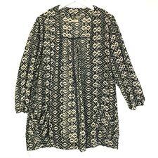 Hollister open front tribal print black cream kimono top cardigan size medium