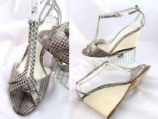 Elie Tahari Snakeskin Gray / Ivory Wedge Sandals Heels Shoes Excellent! 39.5 - 9