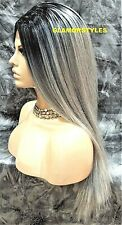 Human Hair Blend Lace Front Full Wig Long Straight Ombre Off Black Gray NWT