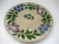 """Antique Spongeware Plate Dish Spatterware Hand Painted English Pottery Floral""""F6"""