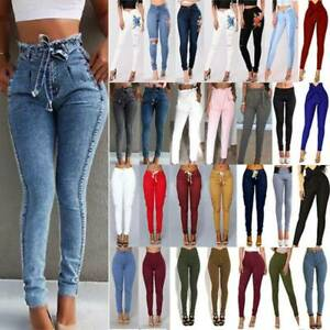 Women High Waist Denim Jeans Jeggings Stretch Casual Trousers Skinny Slim Pants