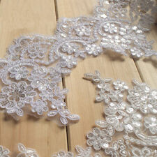 1 Yard Sequin Bridal Lace Trimming Embroidered Trim Ribbon Beaded Wedding Floral