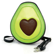 """NEW GREEN+BROWN """"HAVE A HEART"""" AVOCADO LEATHERETTE BAG,CROSS BODY,PURSE"""