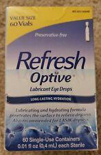 Refresh Optive Lubricant Eye Drops 60 Vials For Dry Eyes