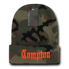 Camo & Orange Compton Vintage Embroidered Hip Hop Cuffed Beanie Beanies Hat Hats