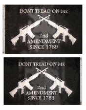 3x5 Gadsden 2nd Amendment 2 Rifles Black 2 Faced 2-ply Wind Resistant Flag 3x5ft