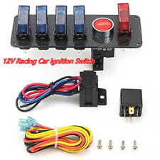 DC12V Car SUV Truck Ignition Switch w/4 Blue & 1 Red LED Toggle Button Panel Kit