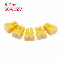 60A 32V Female PAL Car Auto Link Slow Blow Fuse Block Yellow 5pcs