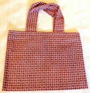 New Handmade Reusable Fabric Cloth SMALL TOTE BAG: Gift Book Lunch ROSE DIAMONDS