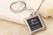 Silver Creative Love Square Shaped Picture Photo Frame Key Chain Ring Keepsake