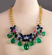 MARNI NECKLACE GREEN BEADS, SEQUINS&STONES BLACK RIBBON GOLD CHAIN – NEW DUSTBAG