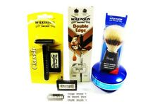 WILKINSON SWORD DOUBLE EDGE RAZOR, BLADES, SHAVING SOAP & SHAVING  BRUSH SET.