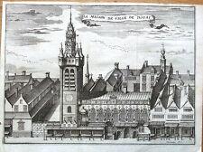FRANCE, DOUAI, TOWN HALL & BELFRY , Francois Foppen Antique Print  1720