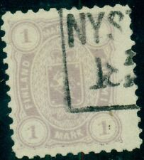 FINLAND #24 1mk violet, used w/boxed town cancel, Scott $125.00