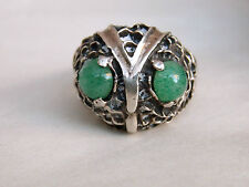 Vintage Mexican Sterling Silver & stone Owl Face RING Taxco size 8.75