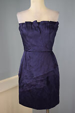 BCBG MAX AZRIA M 8 Navy Blue Strapless Cocktail Party Dress silk metallic cotton