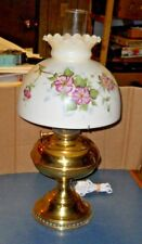 BRASS OIL LAMP GONE WITH THE WIND GLASS TABLE LAMP HAND PAINT FLOWERS SHADE 110V