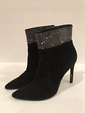STUART WEITZMAN BLACK SUEDE LEATHER ANKLE BOOTS POINTED TOE RHINESTONES 7.5 M