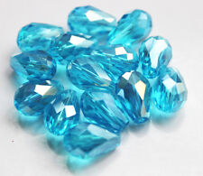 Faceted Cut Glass Crystal Loose Spacer Teardrop Beads Sea Blue 20Pcs 8x12mm