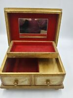 Vintage Royal Sealy Musical Jewelry Box Wooden Gold w/Red Velvet Interior