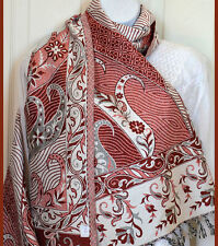 Double sided cotton handloom woven Shawl Stole Wrap burgundy white color India