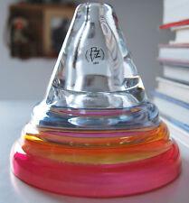 Glasvase Vase Pyramiden-Form PVZ mundgeblasen und handgemacht  14,5 cm