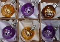 6 Vintage 1980s Purple Gold Painted Bauble Christmas Tree Decorations Retro M67
