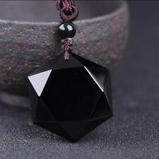 Mujer Hombre Collar Negro Obsidiana Colgante De Piedra Joyería Cadena Adornos