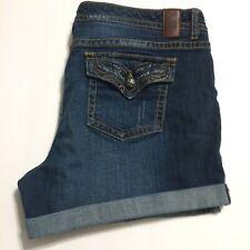 Vanity Jean Shorts Ladies Size 34 Sasha Dark Wash Flap Pockets Denim Roll Cuff